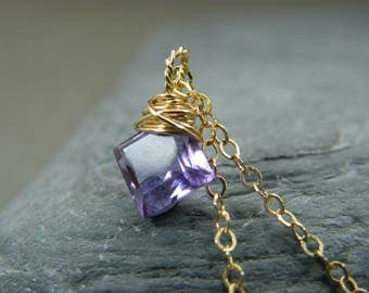 Amethyst necklace for women ~ Rose gold amethyst necklace ~ Gift for February birthday ~ Birthstone necklace February ~ Amethyst pendant ~