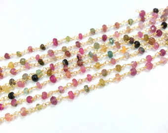 Natural Multi Tourmaline Rosary Chain, Gold Plated Wire Wrapped Rosary Chain, Multi Tourmaline Gold Chain, 3-4 mm, 25k Gold Plated Wire