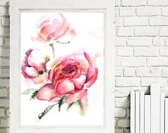 peonies print, instant download, flowers, watercolor, digital artwork, print painting, pink, red, flowers decor,art, botanical painting.