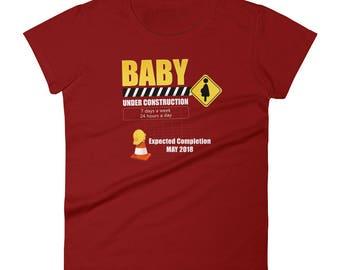 Baby Under Construction  Cute Pregnancy Annoucement Shirt