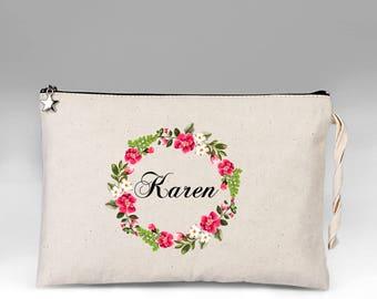 Personalized Makeup Bag, Makeup Bag, Floral Make Up Bag, Make Up, Bridesmaid Gift, Makeup Case, Cosmetic Bag, Makeup Organizer, Gift for Her