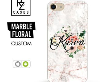 Rose Marble Phone Case, Marble iPhone 7 Case, Floral Marble Case, Personalized Gift for Her, iPhone 7 Plus, Floral, iPhone 6S, Custom Case
