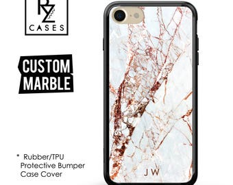 Rose Marble Phone Case, Marble iPhone 7 Case, Personalized Gift, 7 Plus, iPhone 6S, Personalized Gift, Custom, Rubber, Bumper Case