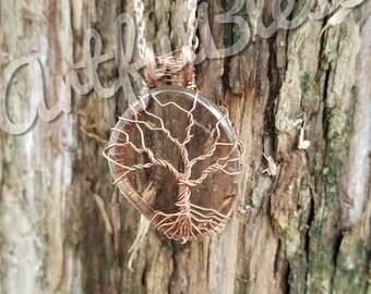 Smoky Quartz Tree of Life Pendant
