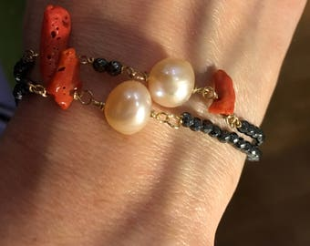 Coral Bracelet. Baroque pearl bracelet. 2-wire bracelet silver 925 with hematite, red coral Baroque Pearls. Gift woman. Chanel