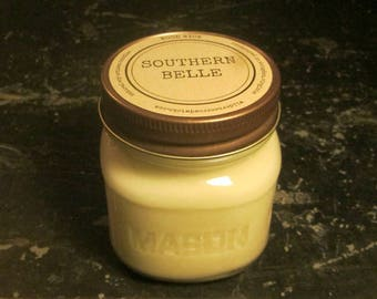 SOUTHERN BELLE // Soy Candle // Wood Wick // Mason Jar