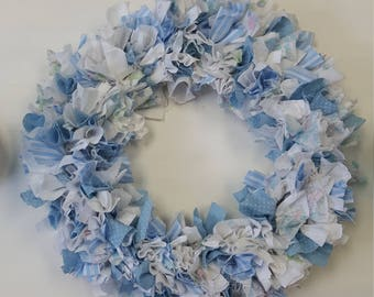 Vintage Small Blue and White Fabric Wreath