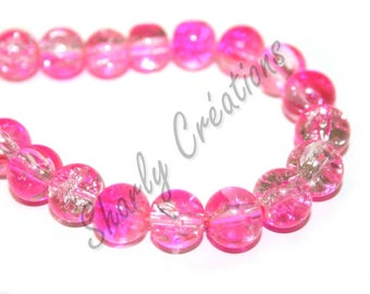 20 10mm pink and clear Crackle glass beads