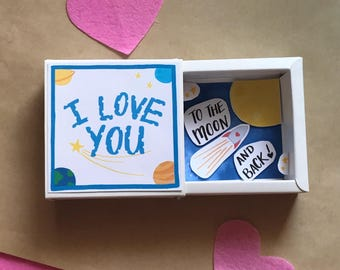 I love you to the moon and back, Message Box, Love Note, Card, Gift for her, Gift for him, I Love You, Matchbox, Valentine's Day, Love