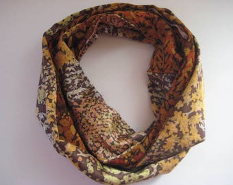 Handcrafted Reversible Fall Leaves Vintage Japanese Kimono Silk Infinity Scarf