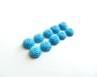 lot 10 10mm blue dahlia flower cabochons