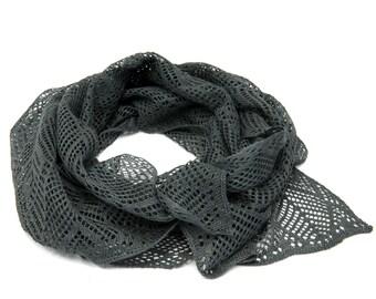 100% Linen Knitted Scarf, Linen Shawl, Autumn Scarf, Dark Grey Linen scarf, 55 x 220 cm
