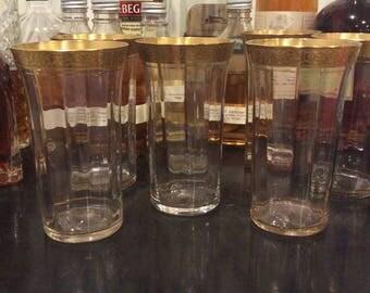 Vintage Gold Trim Depression Glass Tumblers