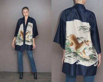 Vintage Japanese Mens Tiger Haori // Long Kimono Robe Jacket