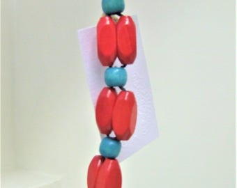 Red and Teal Keychain/Purse Charm
