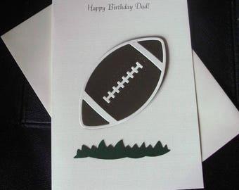 Handmade Birthday 3D card, Rugby Ball Design Dad Grandad Son