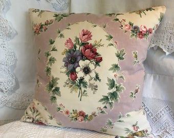 Vintage fabric cushion /decorative cushion /floral cushion /vintage fabric /anemones