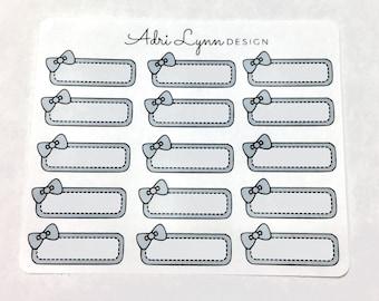 Grey Bow Quarter Box Planner Stickers; for Traveler's Notebooks, Erin Condren, Happy Planner