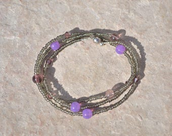 Gray and purple bracelet
