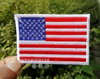 USA Flag patch with White Border High Quality | Iron on Patch | U.S Sew on Embroidered Patch | Iron badges for Clothes | #02