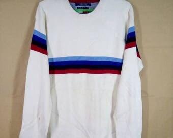 Vintage Tommy Hilfiger Logo Stripes Knit Sweater Sweatshirt