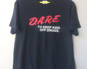 Vintage D.A.R.E To Keep Kids Off Drugs Roundneck t-shirt Large Size