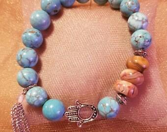 Turquoise 10mm beaded bracelet