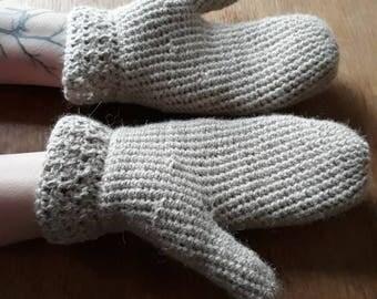 100% alpaca wool mittens