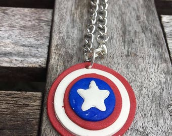 Captain America clay necklace.Captain America necklace.Captain American jewelry.Captain America charm.the avengers jewelry.
