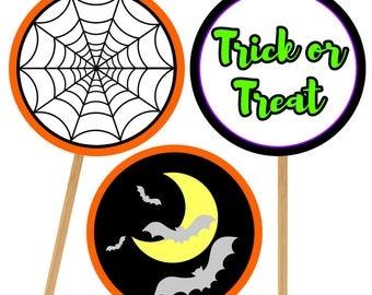Halloween Cupcake Topper Set 2, Printable Cupcake Topper, Digital Download