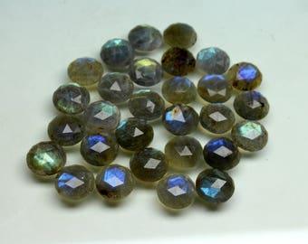 10 PCs Natural Labradorite Faceted Rose cut size- 12x12x4 MM Approx Flashy Fire Labradorite loose semi- precious gemstones