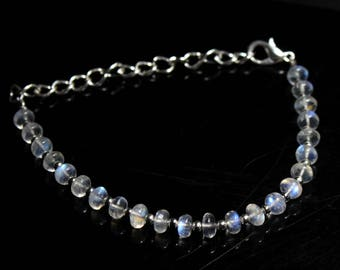 "Natural Rainbow Moonstone Round Beads Strand Bracelet 18 Carats 5"" Inches Strand, Size- 5 MM Approx Code-HN14"