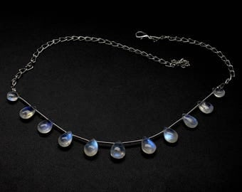 """Rainbow Moonstone 15"""" Inches Necklace Pear Briolette Cabochon 6X9 MM To 8X11 MM Fine Quality blue Flashy fire Strand Code AP490"""