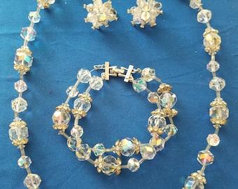 Vendome Crystal Rhinestone Necklace, Bracelet and Earring set