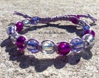 Adjustable Hemp Beaded Bracelet - Purple