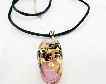 Lampwork - Twist pink Oval Pendant