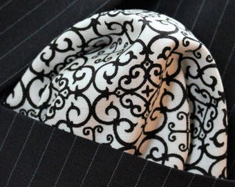 Hankie Pocket Square Handkerchief Black/White Geometric Premium Cotton - UK Made