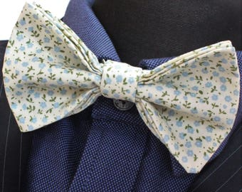 Bow Tie. UK Made. Light Blue Ditsy Floral. Cotton. Premium Quality. Pre-Tied.