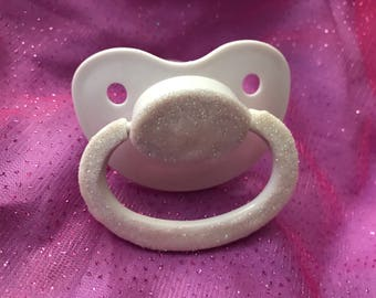 White glitter paci, adult paci, adult Pacifier, custom pacifier, custom paci, abdl, adult paci, adult baby, adult binky, age regression,