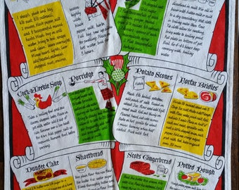 Scottish Recipes Tea Towel
