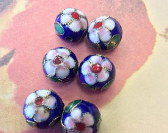 6 Vintage Royal Blue Cloisonné Beads
