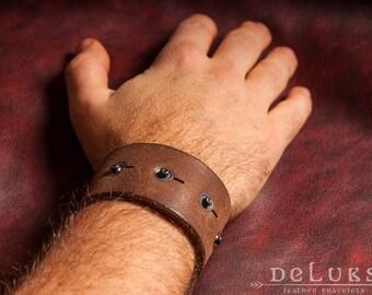 stainless steel rivets , Motorcycle Bracelet - Studded Genuine Leather Motorcycle Buckle Bracelet - Biker Bracelet