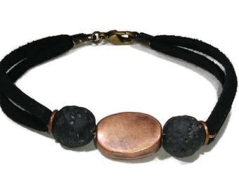 Essential Oil Bracelet, Copper Bracelet, Lava Rock Bracelet, Lava Stone Bracelet, Diffuser Bracelet, Oil Diffuser Bracelet, Copper and Black