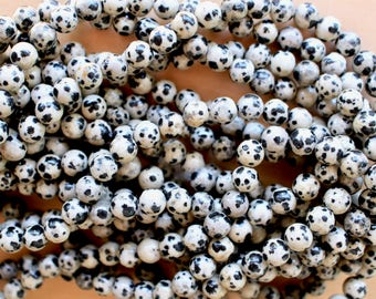 4mm Dalmatian Jasper beads, half strand, natural stone beads, round, 40013