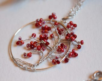 Long Necklace tree of life - asymetrical - pink and red - silver