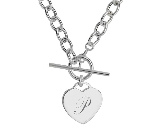 """Sterling Silver Heart Charm T-Bar 17"""" Necklace - Personalised Engraved Initial"""