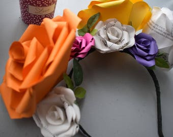 Flower Crown made from Paper Roses, Music Sheet, Purple, Fuschia Pink, Yellow, Orange, Bridal Accessories, Partywear, Flower Girl,  Festival
