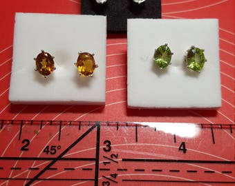 Lab created gems- post earrings