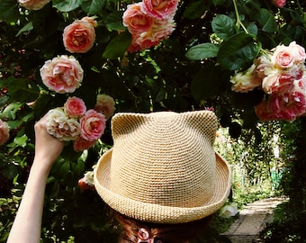 Sun hat women Raffia summer hat with cat ears Straw color hat Beach womens cat hat Handmade crochet Vacation brim hat girl