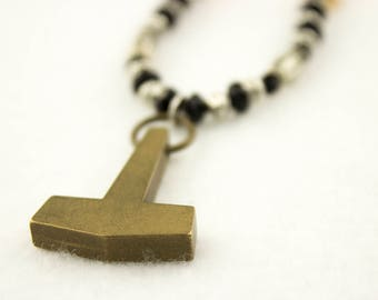 """Bronze Mjolnir Pendant - Silver, Black, and Amber Beaded Necklace 22"""""""